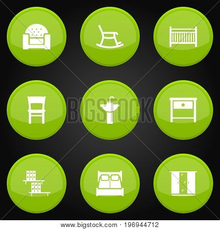 Collection Of Rocking Furniture, Cot, Sofa And Other Elements.  Set Of 9 Situation Icons Set.