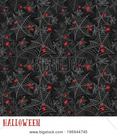 Cobweb seamless pattern. Vector halloween background. Spider s gossamer on the black.