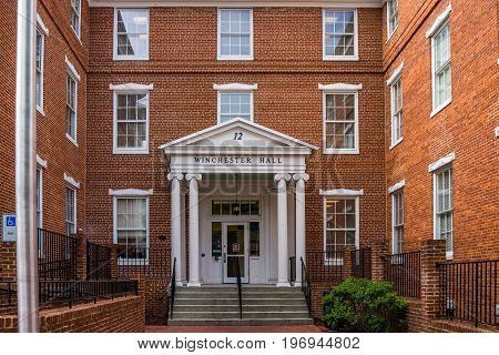 Frederick, Usa - May 24, 2017: Winchester Hall In Downtown City In Maryland With Brick Building Exte