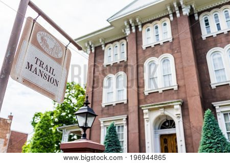 Frederick, Usa - May 24, 2017: Charles Trail Mansion Brick Building In Downtown Maryland City With S