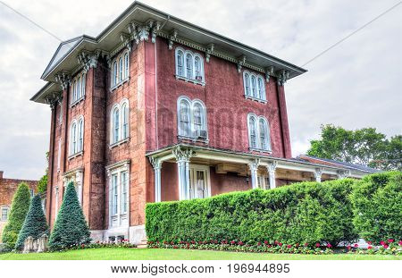 Frederick, Usa - May 24, 2017: Charles Trail Mansion Brick Building In Downtown Maryland City