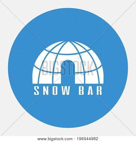 Snow bar icon. Igloo bar icon. Design for tourist catalog maps of the ski slopes web placard brochure flyer booklet. Vector illustration.