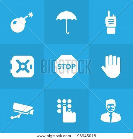 Collection Of Hand , Dynamite , Security Man Elements.  Set Of 9 Procuring Icons Set.