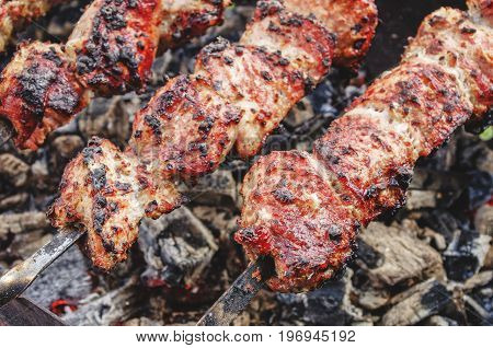 Barbeque grilled meat outdoor with hot charcoal.
