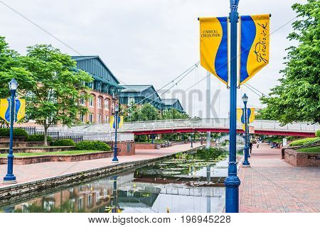 Frederick, Usa - May 24, 2017: Carroll Creek In Maryland City Park With Canal, Reflection And People