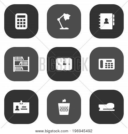 Collection Of Book, Urn, Phone And Other Elements.  Set Of 9 Bureau Icons Set.
