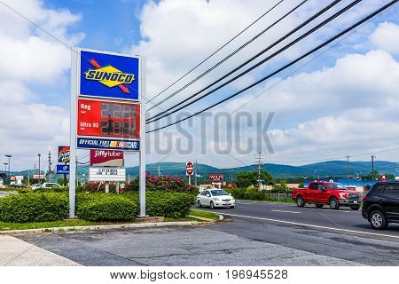 Frederick, Usa - May 24, 2017: Sunoco Gas Pump Station With Prices