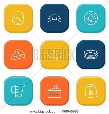Collection Of Donuts, Pudding, Flour And Other Elements.  Set Of 9 Bakery Outline Icons Set.