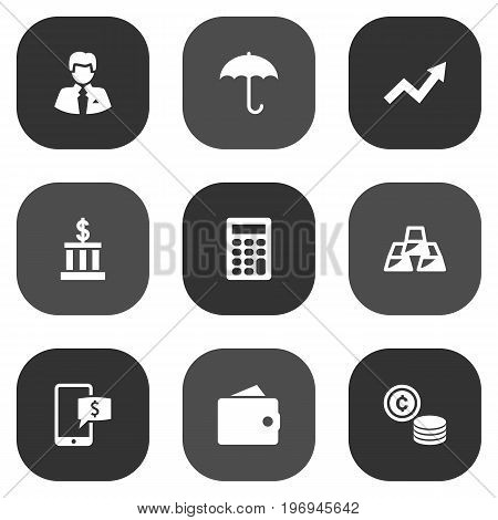 Collection Of Umbrella, Worker, Building And Other Elements.  Set Of 9 Finance Icons Set.