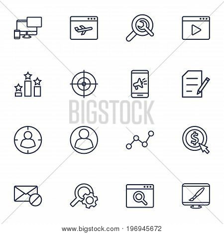 Collection Of Video Marketing, Targeting, Style And Other Elements.  Set Of 16 Optimization Outline Icons Set.