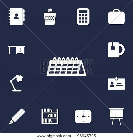 Collection Of Cup, Desktop, Calculate And Other Elements.  Set Of 13 Workspace Icons Set.
