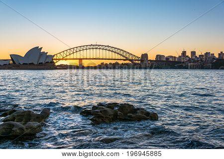 Sydney Harbour Bridge And Cityscape At Sunset