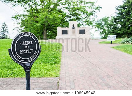 Gettysburg, Usa - May 24, 2017: Sign In Gettysburg National Cemetery Battlefield Park With Lincoln M