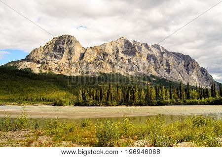 A view of the white marble mountain n the Alaskan wilderness