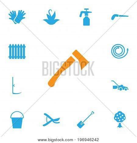 Collection Of Shovel, Garden Hose, Lawn Mower And Other Elements.  Set Of 13 Farm Icons Set.