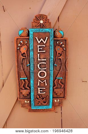 WELCOME sign, New Mexico, traditional Native American design
