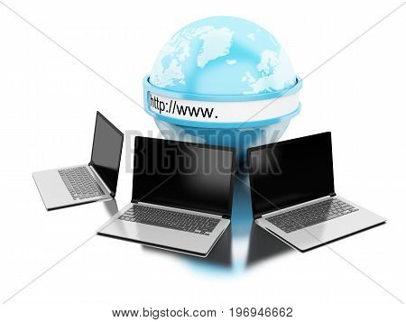 3D Earth With Computers Laptop