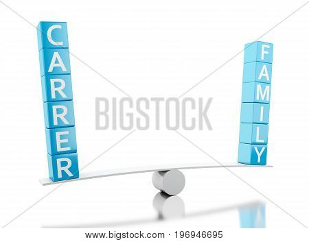 3d illustration. Balance with the words FAMILY or CARRER. Choice concept. Isolated white background