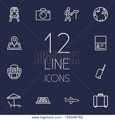 Collection Of Pin, Certificate, Parasol And Other Elements.  Set Of 12 Journey Outline Icons Set.