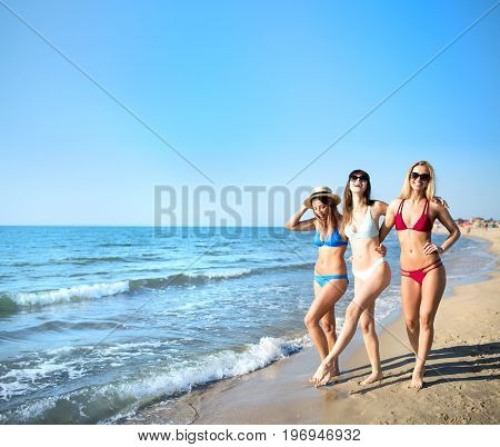 Group of happy friends having fun at the beach with blue ocean