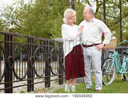 Senior couple with bicycles standing near fence in park