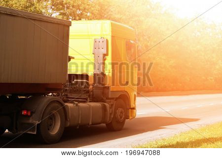 Modern truck on road. Wholesale and logistic concept