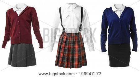 Set of school uniforms for girl on white background
