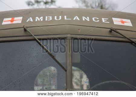 Old emergency vehicle USA army transportation background