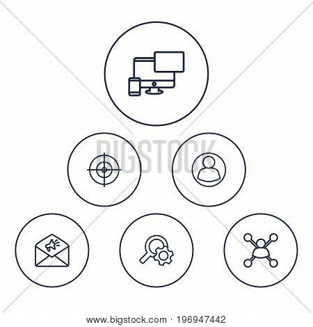 Collection Of Item Identifier, Keywords, Guest And Other Elements.  Set Of 6 Engine Outline Icons Set.