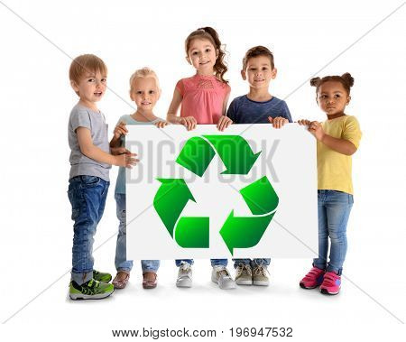 Little children holding poster with sign of recycling on white background. Ecology and environment conservation