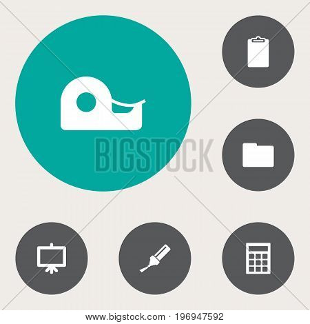 Collection Of Folder, Highlighter, Calculate And Other Elements.  Set Of 6 Tools Icons Set.