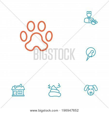 Collection Of Parrot, Vet, Pile Of Poo And Other Elements.  Set Of 6 Animals Outline Icons Set.