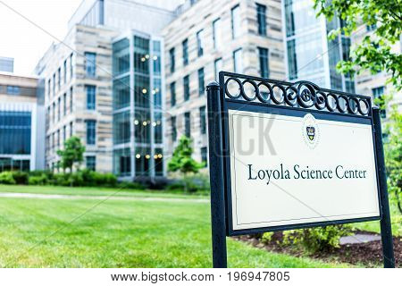 Scranton, Usa - May 25, 2017: University Of Scranton Loyola Science Center Building With Sign And En