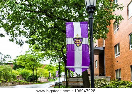 Scranton, Usa - May 25, 2017: University Of Scranton Purple Flag And Building