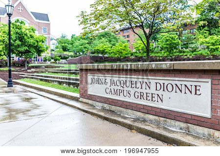 Scranton, Usa - May 25, 2017: University Of Scranton Campus Green Sign With John And Jacquelyn Dionn
