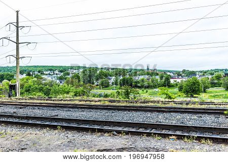 Scranton, Usa - May 25, 2017: Cityscape With Residential Houses And Railroad Track