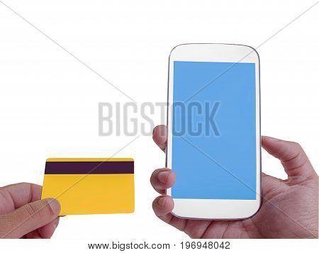 Online Banking on screen with smartphone Credit card spending.(clipping path)