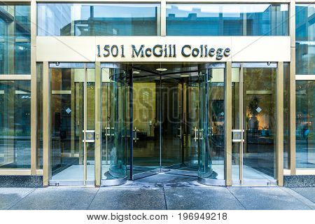 Montreal, Canada - May 26, 2017: Mcgill College University Entrance With Modern Glass And Gold Door