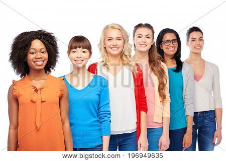 diversity, race, ethnicity and people concept - international group of happy smiling different women over white
