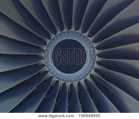 Turbine of airplane engine close-up. Airplane engine closeup.