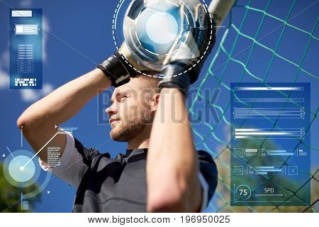 sport, technology and people concept - soccer player or goalkeeper with ball at goal on football field