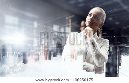 Pensive business lady