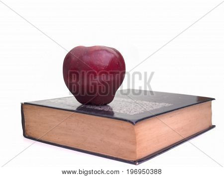 Diet plan book With Fruit apples placed on top Food and health. (with free space for text)