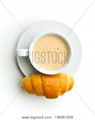 Tasty buttery croissants and coffee cup isolated on white background.