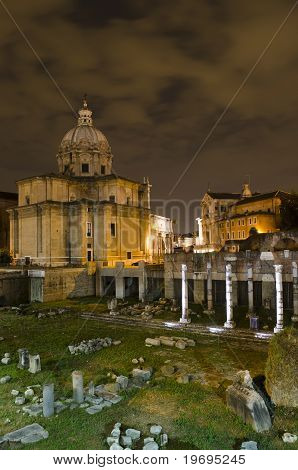 Rome - Santi Luca E Martina Church And Roman Forum At Night