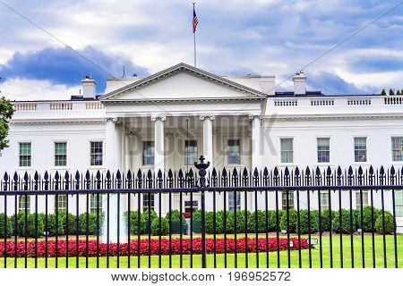White House Fence Summer Red Flowers Fountain Pennsylvania Ave Washington DC