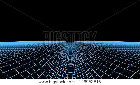 Abstract Digital Tunnel Background. Landscape Grid Illustration. 3D Cyberspace Technology Wireframe