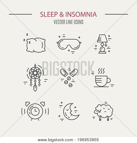 Sleep problems and insomnia icons. Vector line series.