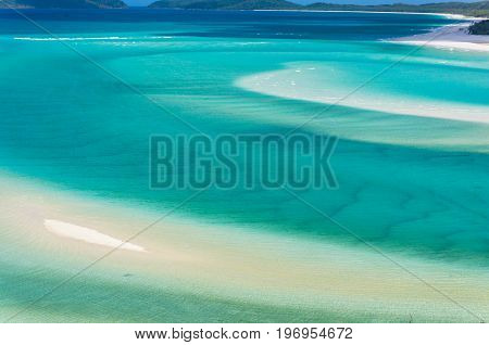 Tropical Lagoon With Turquoise Blue Water And Sand Beach