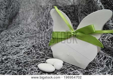 Butterfly shaped box with almond confetti inside